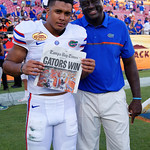 Florida Gators defensive back Quincy Wilson and Florida Gators Assistant Coach, Defensive LineChris Rumph as the Florida Gators celebrate defeating the University of Iowa Hawkeyes 30-3 in the 2017 Outback Bowl in Tampa, Florida.  January 2nd, 2017.  Country photo by David Bowie.