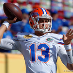 Florida Gators quarterback Feleipe Franks throwing during pre-game as the Florida Gators defeat the University of Iowa Hawkeyes 30-3 in the 2017 Outback Bowl in Tampa, Florida.  January 2nd, 2017.  Country photo by David Bowie.