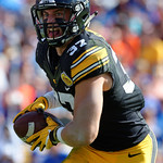 Iowa Hawkeyes defensive back Brandon Snyder intercepts a pass in the first half and celebrates after as the Florida Gators defeat the University of Iowa Hawkeyes 30-3 in the 2017 Outback Bowl in Tampa, Florida.  January 2nd, 2017.  Country photo by David Bowie.