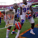 Florida Gators tight end C'yontai Lewis and Florida Gators defensive lineman Luke Ancrum as the Florida Gators celebrate defeating the University of Iowa Hawkeyes 30-3 in the 2017 Outback Bowl in Tampa, Florida.  January 2nd, 2017.  Country photo by David Bowie.