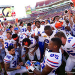 The Florida Gators celebrate defeating the University of Iowa Hawkeyes 30-3 in the 2017 Outback Bowl in Tampa, Florida.  January 2nd, 2017.  Country photo by David Bowie.