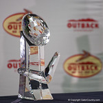 The Outback Bowl Trophy during trophy presentations as the Florida Gators defeat the University of Iowa Hawkeyes 30-3 in the 2017 Outback Bowl in Tampa, Florida.  January 2nd, 2017.  Country photo by David Bowie.