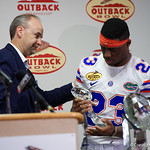 Florida Gators defensive back Chauncey Gardner is awarded the Outback Bowl MVP trophy during trophy presentations as the Florida Gators defeat the University of Iowa Hawkeyes 30-3 in the 2017 Outback Bowl in Tampa, Florida.  January 2nd, 2017.  Country photo by David Bowie.