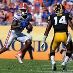 Florida Gators wide receiver Antonio Callaway sprinting upfield during the first half as the Florida Gators defeat the University of Iowa Hawkeyes 30-3 in the 2017 Outback Bowl in Tampa, Florida.  January 2nd, 2017.  Country photo by David Bowie.