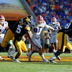 Florida Gators defensive lineman Joey Ivie attempts to bust through the Iowa offensive line during the second half as the Florida Gators defeat the University of Iowa Hawkeyes 30-3 in the 2017 Outback Bowl in Tampa, Florida.  January 2nd, 2017.  Country photo by David Bowie.