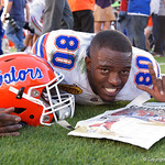 Florida Gators tight end C'yontai Lewis as the Florida Gators celebrate defeating the University of Iowa Hawkeyes 30-3 in the 2017 Outback Bowl in Tampa, Florida.  January 2nd, 2017.  Country photo by David Bowie.
