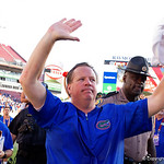 Florida Gators Head Coach Jim McElwain as the Florida Gators celebrate defeating the University of Iowa Hawkeyes 30-3 in the 2017 Outback Bowl in Tampa, Florida.  January 2nd, 2017.  Country photo by David Bowie.