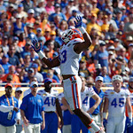 Florida Gators linebacker Daniel McMillian leaping for a tipped ball during the first half as the Florida Gators defeat the University of Iowa Hawkeyes 30-3 in the 2017 Outback Bowl in Tampa, Florida.  January 2nd, 2017.  Country photo by David Bowie.