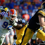 Florida Gators defensive lineman Jabari Zuniga attempts to get around the edge during the second half as the Florida Gators defeat the University of Iowa Hawkeyes 30-3 in the 2017 Outback Bowl in Tampa, Florida.  January 2nd, 2017.  Country photo by David Bowie.