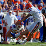 Florida Gators defensive kicker Eddy Pineiro kicks in a field goal to tie the game 3-3 during the first half as the Florida Gators defeat the University of Iowa Hawkeyes 30-3 in the 2017 Outback Bowl in Tampa, Florida.  January 2nd, 2017.  Country photo by David Bowie.