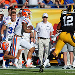 Florida Gators wide receiver Freddie Swain makes a catch and runs diown the sidelines during the second half as the Florida Gators defeat the University of Iowa Hawkeyes 30-3 in the 2017 Outback Bowl in Tampa, Florida.  January 2nd, 2017.  Country photo by David Bowie.