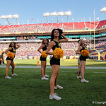 The Iowa Hawkeye cheerleaders cheer on during the second half as the Florida Gators defeat the University of Iowa Hawkeyes 30-3 in the 2017 Outback Bowl in Tampa, Florida.  January 2nd, 2017.  Country photo by David Bowie.