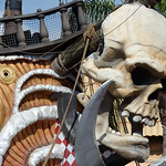 The Raymond James Stadium pirate ship skull during pre-game as the Florida Gators defeat the University of Iowa Hawkeyes 30-3 in the 2017 Outback Bowl in Tampa, Florida.  January 2nd, 2017.  Country photo by David Bowie.
