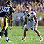 Florida Gators defensive back Teez Tabor gets set during the second half as the Florida Gators defeat the University of Iowa Hawkeyes 30-3 in the 2017 Outback Bowl in Tampa, Florida.  January 2nd, 2017.  Country photo by David Bowie.