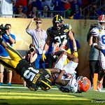 Florida Gators wide receiver Tyrie Cleveland dives to make a catch in the endzone but the play is called back on a penalty during the second half as the Florida Gators defeat the University of Iowa Hawkeyes 30-3 in the 2017 Outback Bowl in Tampa, Florida.  January 2nd, 2017.  Country photo by David Bowie.