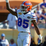 Florida Gators wide receiver Chris Thompson motions to the Iowa kicker before the opening kickoff as the Florida Gators defeat the University of Iowa Hawkeyes 30-3 in the 2017 Outback Bowl in Tampa, Florida.  January 2nd, 2017.  Country photo by David Bowie.