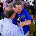 Florida Gators Head Coach Jim McElwain giving an interview to ESPN as the Florida Gators celebrate defeating the University of Iowa Hawkeyes 30-3 in the 2017 Outback Bowl in Tampa, Florida.  January 2nd, 2017.  Country photo by David Bowie.