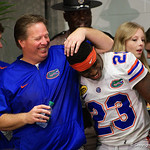 Florida Gators Head Coach Jim McElwain and Florida Gators defensive back Chauncey Gardner during the post-game trophy presentation as the Florida Gators defeat the University of Iowa Hawkeyes 30-3 in the 2017 Outback Bowl in Tampa, Florida.  January 2nd, 2017.  Country photo by David Bowie.