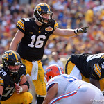Iowa Hawkeyes quarterback C.J. Beathard at the line during the first half as the Florida Gators defeat the University of Iowa Hawkeyes 30-3 in the 2017 Outback Bowl in Tampa, Florida.  January 2nd, 2017.  Country photo by David Bowie.