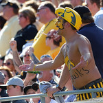 A Hawkeyes fan reacts to a call by the referees during the first half as the Florida Gators defeat the University of Iowa Hawkeyes 30-3 in the 2017 Outback Bowl in Tampa, Florida.  January 2nd, 2017.  Country photo by David Bowie.