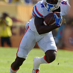 Florida Gators wide receiver Brandon Powell catches a swing pass and turns upfield as the Florida Gators defeat the University of Iowa Hawkeyes 30-3 in the 2017 Outback Bowl in Tampa, Florida.  January 2nd, 2017.  Country photo by David Bowie.