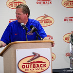 Florida Gators Head Coach Jim McElwain receives the Outback Bowl trophy during trophy presentations as the Florida Gators defeat the University of Iowa Hawkeyes 30-3 in the 2017 Outback Bowl in Tampa, Florida.  January 2nd, 2017.  Country photo by David Bowie.