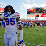 Florida Gators defensive lineman Keivonnis Davis as the Florida Gators celebrate defeating the University of Iowa Hawkeyes 30-3 in the 2017 Outback Bowl in Tampa, Florida.  January 2nd, 2017.  Country photo by David Bowie.