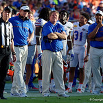 Florida Gators Head Coach Jim McElwain looks up to the jumbotron during the second half as the Florida Gators defeat the University of Iowa Hawkeyes 30-3 in the 2017 Outback Bowl in Tampa, Florida.  January 2nd, 2017.  Country photo by David Bowie.
