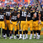 The Iowa Hawkeyes offense huddles together during the first half as the Florida Gators defeat the University of Iowa Hawkeyes 30-3 in the 2017 Outback Bowl in Tampa, Florida.  January 2nd, 2017.  Country photo by David Bowie.