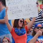 A Florida Gators fan holds up a sign during the first half as the Florida Gators defeat the University of Iowa Hawkeyes 30-3 in the 2017 Outback Bowl in Tampa, Florida.  January 2nd, 2017.  Country photo by David Bowie.