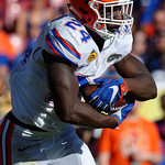 Florida Gators running back Mark Thompson rushing during the second half as the Florida Gators defeat the University of Iowa Hawkeyes 30-3 in the 2017 Outback Bowl in Tampa, Florida.  January 2nd, 2017.  Country photo by David Bowie.