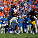 Florida Gators running back Jordan Scarlett rushing during the second half as the Florida Gators defeat the University of Iowa Hawkeyes 30-3 in the 2017 Outback Bowl in Tampa, Florida.  January 2nd, 2017.  Country photo by David Bowie.