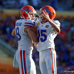 Florida Gators defensive kicker Eddy Pineiro celebrates with Florida Gators punter Johnny Townsend after kicking in his second field goal of the game during the second half as the Florida Gators defeat the University of Iowa Hawkeyes 30-3 in the 2017 Outback Bowl in Tampa, Florida.  January 2nd, 2017.  Country photo by David Bowie.