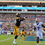 Iowa Hawkeyes tight end George Kittle cant catch up to the ball thrown into the endzone during the first half as the Florida Gators defeat the University of Iowa Hawkeyes 30-3 in the 2017 Outback Bowl in Tampa, Florida.  January 2nd, 2017.  Country photo by David Bowie.