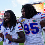 Florida Gators wide receiver Dre Massey and Florida Gators defensive lineman Keivonnis Davis as the Florida Gators celebrate defeating the University of Iowa Hawkeyes 30-3 in the 2017 Outback Bowl in Tampa, Florida.  January 2nd, 2017.  Country photo by David Bowie.