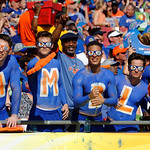 Gator fans cheer on during the first half as the Florida Gators defeat the University of Iowa Hawkeyes 30-3 in the 2017 Outback Bowl in Tampa, Florida.  January 2nd, 2017.  Country photo by David Bowie.