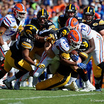 Florida Gators running back Jordan Scarlett rushing as the Florida Gators defeat the University of Iowa Hawkeyes 30-3 in the 2017 Outback Bowl in Tampa, Florida.  January 2nd, 2017.  Country photo by David Bowie.