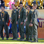 The pilots who performed the flyover are honored during the second half as the Florida Gators defeat the University of Iowa Hawkeyes 30-3 in the 2017 Outback Bowl in Tampa, Florida.  January 2nd, 2017.  Country photo by David Bowie.