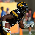Iowa Hawkeyes defensive back Desmond King runs the ball out of the endzone on a kick return during the second half as the Florida Gators defeat the University of Iowa Hawkeyes 30-3 in the 2017 Outback Bowl in Tampa, Florida.  January 2nd, 2017.  Country photo by David Bowie.