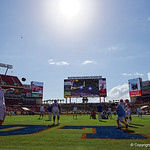 Florida Gators quarterback Austin Appleby throwing during pre-game as the Florida Gators defeat the University of Iowa Hawkeyes 30-3 in the 2017 Outback Bowl in Tampa, Florida.  January 2nd, 2017.  Country photo by David Bowie.