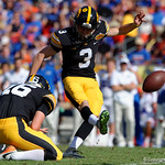 Iowa Hawkeyes kicker Keith Duncan kicking in a field goal to put the Hawkeyes yup 3-0 during the first half as the Florida Gators defeat the University of Iowa Hawkeyes 30-3 in the 2017 Outback Bowl in Tampa, Florida.  January 2nd, 2017.  Country photo by David Bowie.