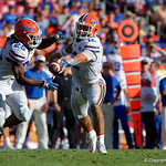 Florida Gators quarterback Austin Appleby turns to hand the ball off to Florida Gators running back Jordan Scarlett during the second half as the Florida Gators defeat the University of Iowa Hawkeyes 30-3 in the 2017 Outback Bowl in Tampa, Florida.  January 2nd, 2017.  Country photo by David Bowie.