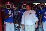 Florida Gators offensive lineman Antonio Riles and Florida Gators head coach Jim McElwain wait in the tunnel to take the field, as the University of Florida Gators fotball team scrimmages for the final time this spring in the annual Orange and Blue Debut at Ben Hill Griffin Stadium.  April 8th, 2016.  Gator Country Photo by David Bowie.