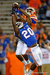 Florida Gators wide receiver Josh Hammond and Florida Gators defensive back Marcus Maye leap for the ball as Maye breaks up the pass, as the University of Florida Gators fotball team scrimmages for the final time this spring in the annual Orange and Blue Debut at Ben Hill Griffin Stadium.  April 8th, 2016.  Gator Country Photo by David Bowie.