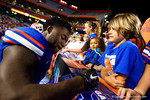 Florida Gators defensive back Duke Dawson signs autographs for the fans, as the University of Florida Gators fotball team scrimmages for the final time this spring in the annual Orange and Blue Debut at Ben Hill Griffin Stadium.  April 8th, 2016.  Gator Country Photo by David Bowie.