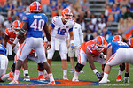 Florida Gators quarterback Austin Appleby at the line, as the University of Florida Gators fotball team scrimmages for the final time this spring in the annual Orange and Blue Debut at Ben Hill Griffin Stadium.  April 8th, 2016.  Gator Country Photo by David Bowie.