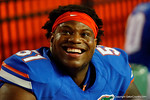 Florida Gators offensive lineman Antonio Riles is all smiles as the University of Florida Gators fotball team scrimmages for the final time this spring in the annual Orange and Blue Debut at Ben Hill Griffin Stadium.  April 8th, 2016.  Gator Country Photo by David Bowie.
