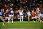Florida Gators head coach Jim McElwain watches on from the field, as the University of Florida Gators fotball team scrimmages for the final time this spring in the annual Orange and Blue Debut at Ben Hill Griffin Stadium.  April 8th, 2016.  Gator Country Photo by David Bowie.