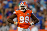 Florida Gators defensive lineman Luke Ancrum looks to the sideline, as the University of Florida Gators fotball team scrimmages for the final time this spring in the annual Orange and Blue Debut at Ben Hill Griffin Stadium.  April 8th, 2016.  Gator Country Photo by David Bowie.