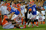 Florida Gators running back Mark Thompson rushing downfield as the University of Florida Gators fotball team scrimmages for the final time this spring in the annual Orange and Blue Debut at Ben Hill Griffin Stadium.  April 8th, 2016.  Gator Country Photo by David Bowie.